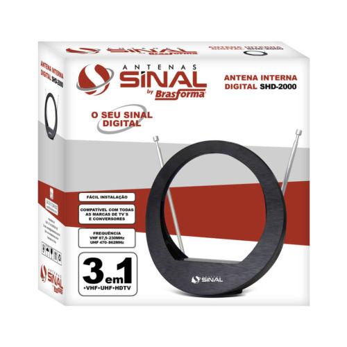 Embalagem Embalagem Antena Interna 3 em 1 UHF/VHF/DIGITAL/HDTV - Sinal Antenas - SHD-2000